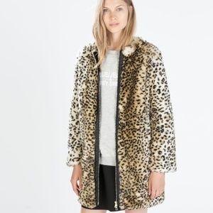 Zara faux fur leopard fluffy coat